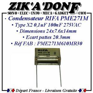 Condensateur RIFA PME 271 M X2 100n 275VAC 0,1uF 0,1µF 100nF Ecart pattes 20.3mm