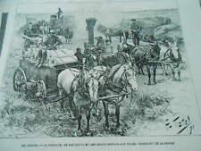 Gravure 1883 - Canada la récolte le blé battu et les grains moulus sur place