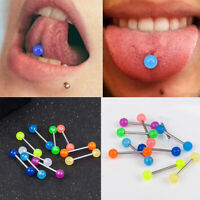 10pc Glow In The Dark Luminous Barbell Lip Tongue Rings Body Piercing Jewelry S8