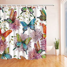 Color Butterfly Flowers Bathroom Waterproof Fabric Shower Curtain & 12 Hooks 71""