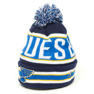 """St Louis Blues """"Franchise"""" NHL cuffed beanie hat with pom"""
