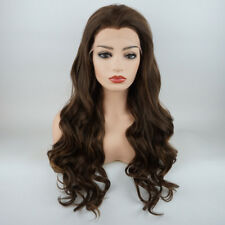 Wavy Long 24inch Dark Brown and Dark Blonde Mix Synthetic Lace Front Wig
