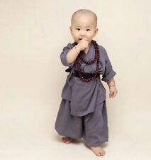 Kid Child Shaolin Buddhist Monk Robe Boy Meditation Uniform Kung fu Tai chi Suit