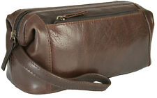 Primehide Framed Soft Real Leather Mens Washbag Toiletry Bag - Dark Brown - 951