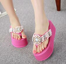 HOT Womens Beads Thong Rhinestone Platform High Wedge Heels Sandals Slippers P25
