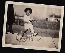 Vintage Antique Photograph Adorable Little Girl Riding on Tricycle Bicycle Bike