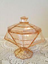 Vintage Pink Depression Glass Art Deco Sugar Bowl