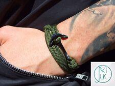 Black Silver Anchor Rope Paracord Bracelet Khaki Wrap Around Unisex Adjustable