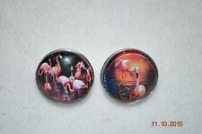 Snap metal Button Charm covers FLAMINGOS for Leather Snap bracelets/18-19MM