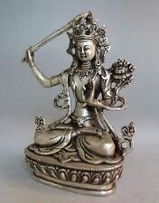 Tibet Buddhism Handwork Silver Manjushri Bodhisattva Buddha Statue