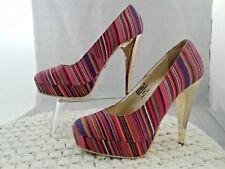 Dereon Stripe Fabric Platform Slip On Stilettos Pumps Heels Shoes Womens Size 9