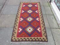 Kilim Vintage Traditional Hand Made Oriental Small Kilim Red Wool 194x102cm