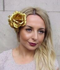 Large Double Gold Rose Flower Hair Clip Rockabilly 1950s Fascinator Grecian 2988