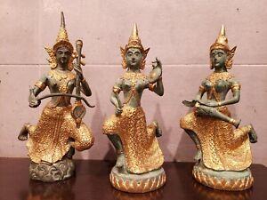 ANTIQUE THAI HINDU  GILT BRONZE BUDDHA STATUE NAMASAKRA MUDRA  (Set of 3)
