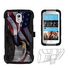 For HTC Desire 526 (Verizon) Eagle USA Flag Hybrid Shell Case Kickstand Holster