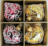 x4 Red & Gold Hearts Glittery Glass Ornaments Mouth Blown Handpainted in Poland