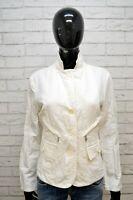 MONCLER Giacca Taglia M Cappotto Jacket Donna Giubbotto Lino Bianco Jacke Woman