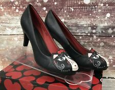 TUK Black Day Of The Dead Kitty High Heels Size 8