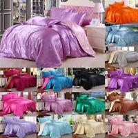 Satin Silk Duvet Quilt Cover Bed Sheet Pillowcase Bedding Set Twin Queen King