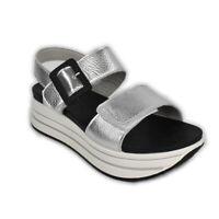 Sandali IGI&CO scarpa Zeppa grigio argento strappo pelle laminata - 5175522