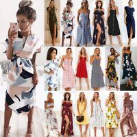 UK Boho Womens Holiday Party Sundress Ladies Summer Beach Casual Dress Size 6-18