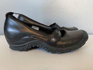 Merrell Plaza Bandeau Mary Jane Shoes Black Leather Womens 7.5