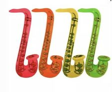4x Inflatable Neon Saxophone Pink Yellow Green Orange 55cm Blow Up Rock & Roll