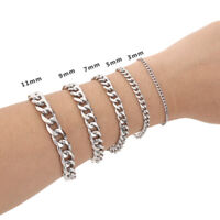 """8.6"""" MENS Silver Stainless Steel Chain Bracelet 3/5/7/9/11/mm Cuban Curb Link"""