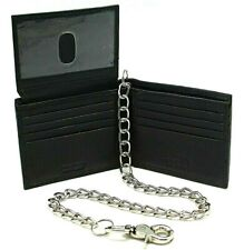 RFID Biker Cow Leather Bi-fold Wallet with / without Chain Flip up ID Key Slot