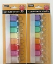 2 X 8pc Multicolor Key Tags With Holder-I.D Tags-Lable Window