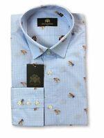 Circle of Gentlemen Raulo shirt in blue micro check rrp £149.00