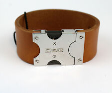DOLCE&GABBANA MENS BROWN LEATHER STEEL BRACELET