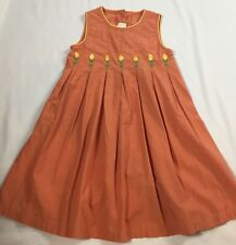 French DPAM Size 4 Years Orange Pleated Yellow Floral Tulips Sleeveless Dress