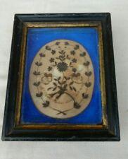 tableau en cheveux 19eme, memento mori d'un vicaire 1871 , cabinet de curiosités