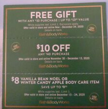 3 Bath & Body Works-Gift, with purchase &$10 off $40 &$8 Item  Exp 12-13 & 12-24