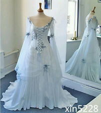 Celtic Wedding Dress Medieval Bridal Gown Corset Long Bell Sleeve Light Blue