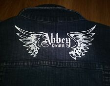 Abby Dawn Dark Wash Embellished Jean Jacket Size L scl-i