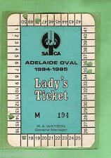 #D18. ADELAIDE OVAL CRICKET LADY'S TICKET 1984-85 #M 194