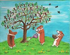 Print Of 8X10 Painting Pembroke Welsh Corgi Folk Art Ryta Cookie Tree Dog Spring