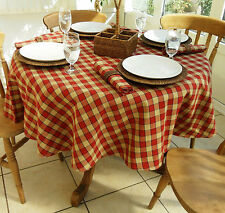 "67"" FARMHOUSE CHECK ROUND TABLECLOTH - BRICK RED & BEIGE CHECKED"