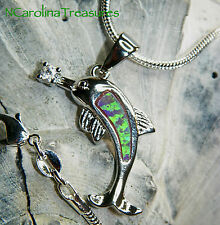 SHINY 925 STERLING SILVER NECKLACE 18K WHITE GOLD FILLED SWORDFISH PENDANT OPALS