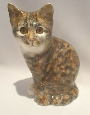 ** Jenny Winstanley Pottery Cat Large Size 4 Seated with glass eyes Signed**