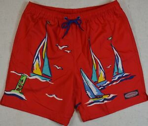 Vineyard Vines Swimming Short Sailing the Bay Bungalow Red Trunk XL NWT