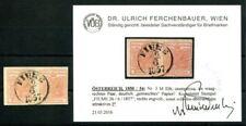 AUTRICHE 1850 3y gemaschtes Papier Luxe paire constat FB VÖB (k7476
