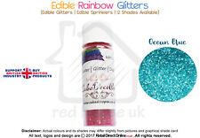 Rainbow Glitter | 100 % Edible | Cake Decorating Craft | 7 Grams | Ocean Blue