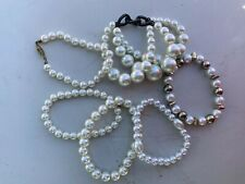 6 Stretch And Nonstretch Faux Pearl Bracelets Lot Of
