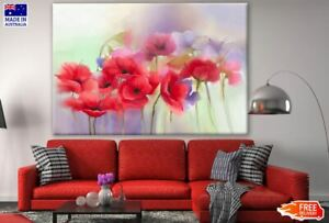 Tulip Flowers Watercolor Painting Canvas Collection Home Decor Wall Print Art