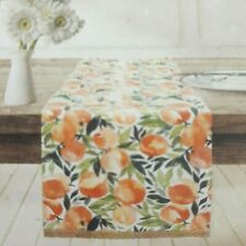 Table Runner Peaches Stripes Jute Edge 14x72