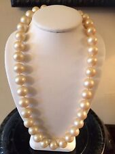 Vintage Signed Miriam Haskell Short Chunky Pearl Necklace With Clasp