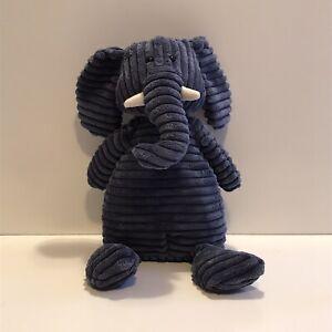 "Jellycat Corduroy Elephant Blue Plush Stuffed Toy - 15"" Tall"
